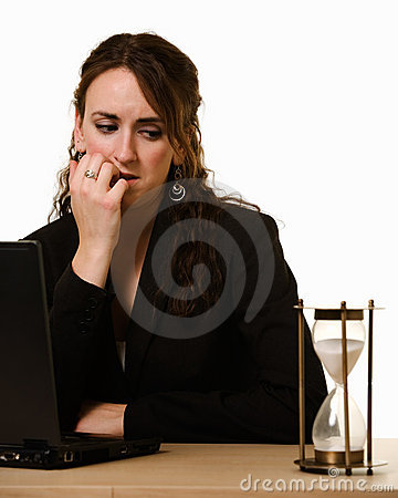 Worried woman Watching the clock