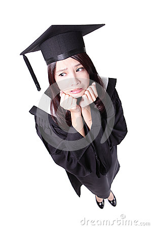 Worry graduate student girl in academic gown