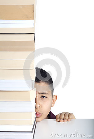 Worry student face and books