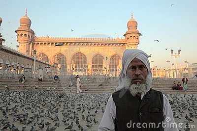 Worshiper at Mecca Masjid mosque, Hyderabad Editorial Photo
