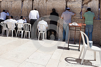 Worshipers at the Western Wall in Jerusalem Editorial Image
