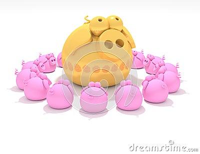 Worshiping a golden pig
