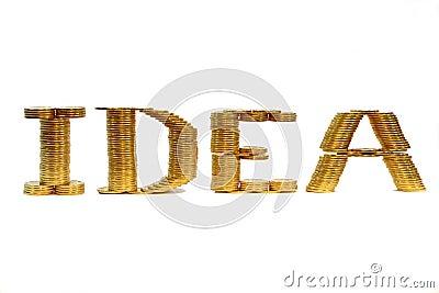 Wort der Idee einer gefalteten Münze