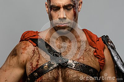 Wounded gladiator close-up