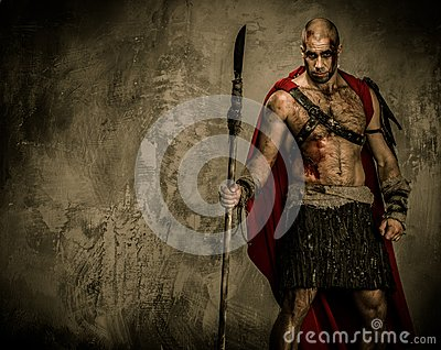 Wounded gladiator holding spear