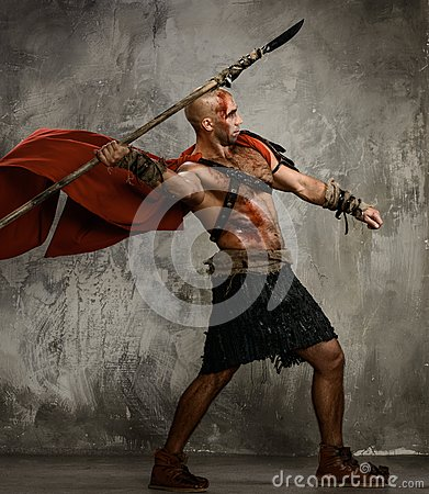 Wounded gladiator with spear