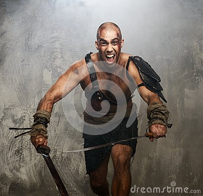 Wounded gladiator with sword