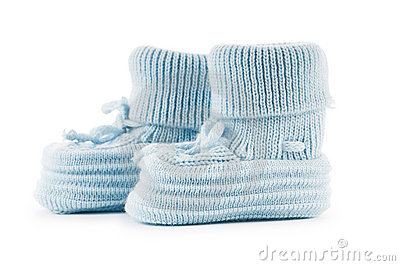 Woven baby shoes isolated on white