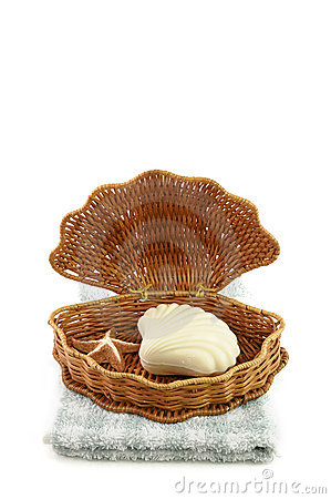 Woven basket, towel and soap