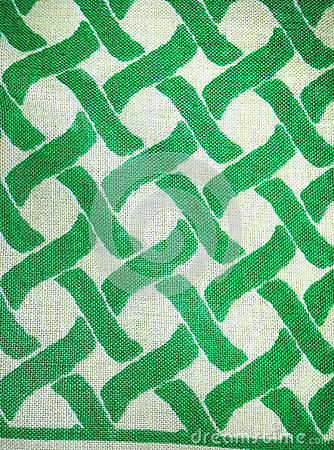 Woven cotton textile in green and white