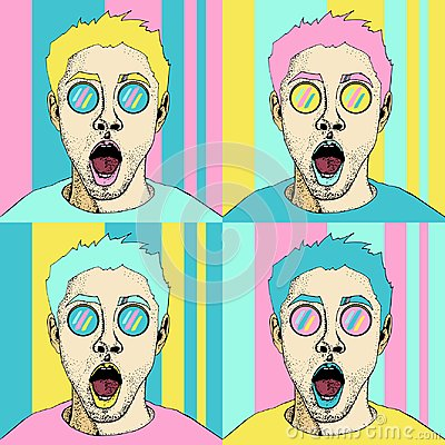 Free Wow Pop Art Male Face Seamless Pattern. Sexy Surprised Man With Open Mouth Royalty Free Stock Photography - 112802677