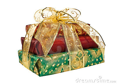 Wrapped gift boxes with gold ribbon and bow