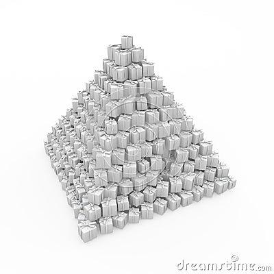Wrapped Gift Pyramid, White