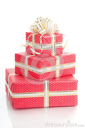 Wrapped gifts with a bow on a white background