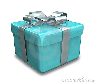 Wrapped light blue gift 3D