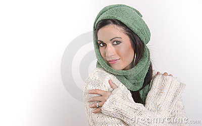 Wrapped Up Woman Waears Woven Scarf Sweater