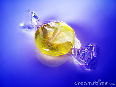 Wrapped yellow candy