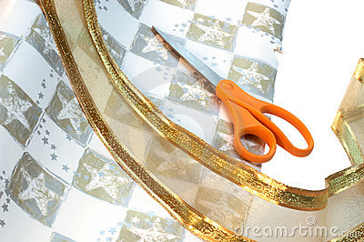 Wrapping paper, ribbon & scissors