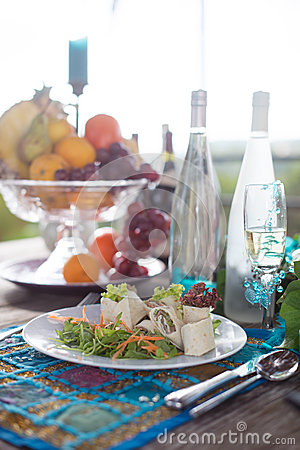 Wraps, Fruit and Sparkling Wine