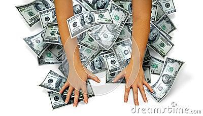 Wręcza pieniądze