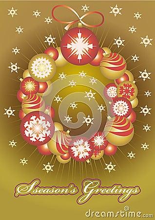 Wreath of Christmas gold balls