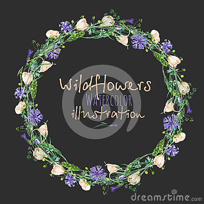 Free Wreath, Circle Frame Border With Wildflowers, Eustoma And Cornflowers Royalty Free Stock Images - 90351389