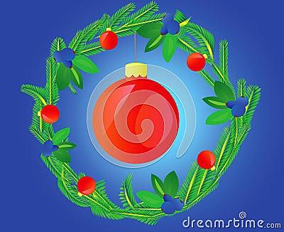 Wreath decorated varicoloured ball