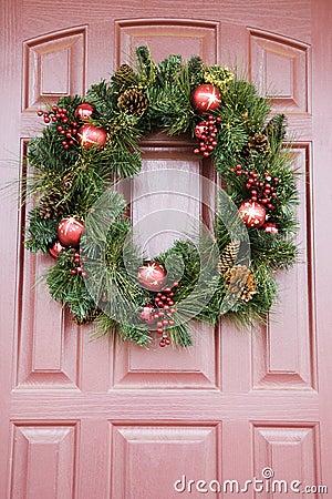 Wreath on door.
