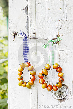 Wreath made of rose hip fruits on wooden background