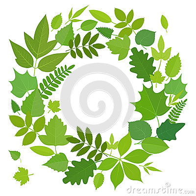 Free Wreath Of Green Leaves Royalty Free Stock Image - 74671656