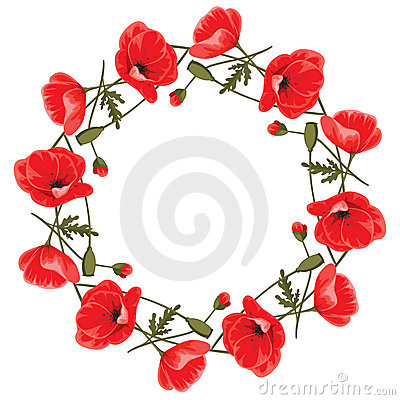Free Wreath Of Red Poppies Stock Photo - 23243790