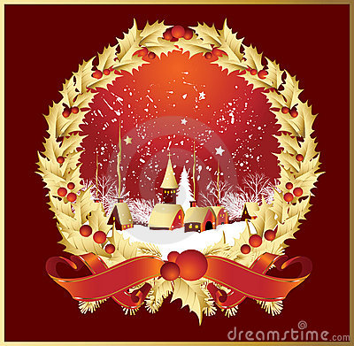 Free Wreath Ribbonsa Town In Red Stock Images - 7303344