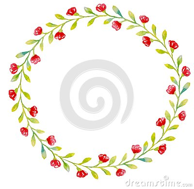 The wreath of small light green leaves and small red flowers Stock Photo
