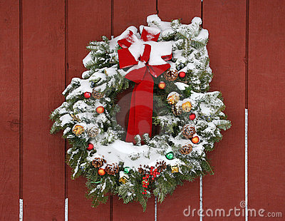 Wreath with Snow on Barn