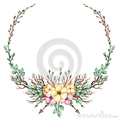 Wreath With Watercolor Yellow And Pink Flowers, Leaves And Arrows Stock Photo