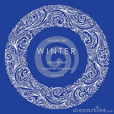 A wreath of white frosty pattern Vector Illustration