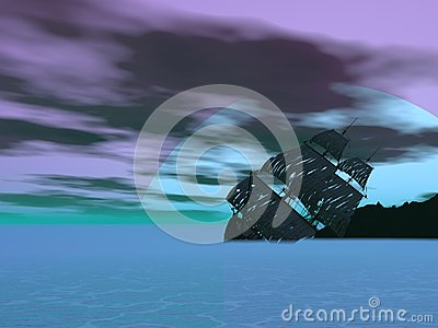 Wreck old boat - 3D render Stock Photo