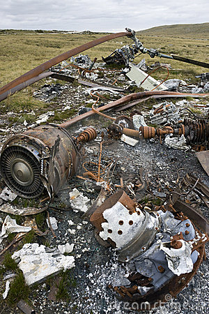 Wreckage of an Argentine Helicopter - Falklands
