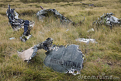 Wreckage of an Argentine jet - Falklands War