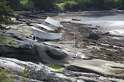 Wrecked boat on the shore