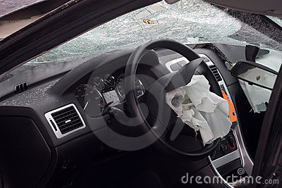 Wrecked car with airbag