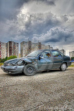 Wrecked car outside city- HDR