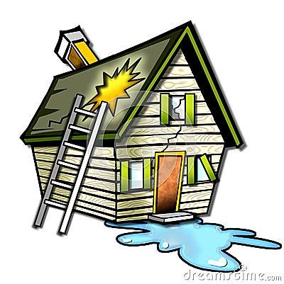 Verwoeste huis cartoon