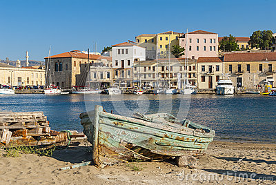 Wrecked wooden boat Chania Editorial Photo