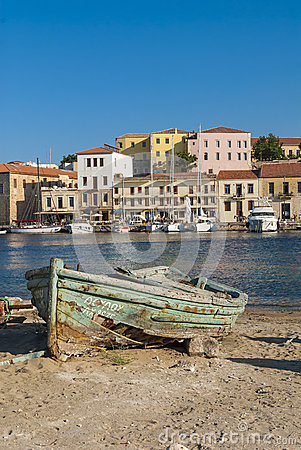 Wrecked wooden boat Chania Editorial Image