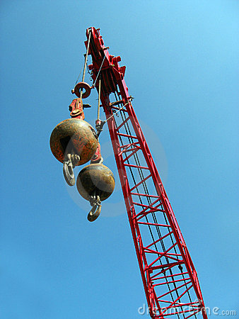 Free Wrecking Balls With Red Crane Stock Photos - 14798613