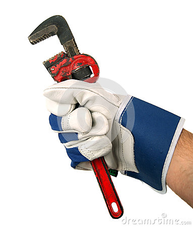 Wrench in hand with work glove
