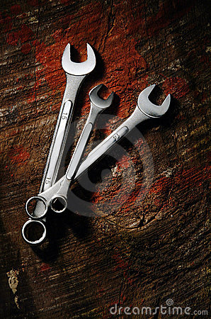 Wrenches over wood
