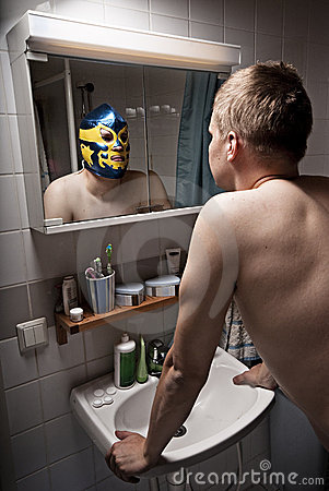 Free Wrestler In Mirror. Stock Image - 11471091