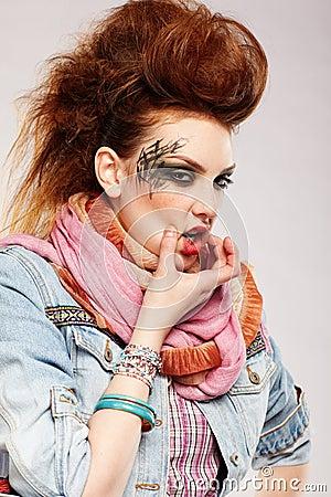 Wriggling glam punk girl